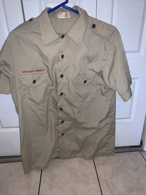 Boy Scout BSA UNIFORM SHIRT  Men's  Large Short Sleeve Tan L66