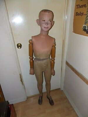 Vintage 20s30s Mannequin Articulated Wood Jointed Arms Young Boy Life Size