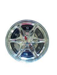 Chrome car rim/wheel wall clock with wrench and screwdriver for dials