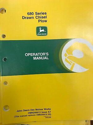 John Deere Operators Manual 680 Series Drawn Chisel Plow Omn200613 Used