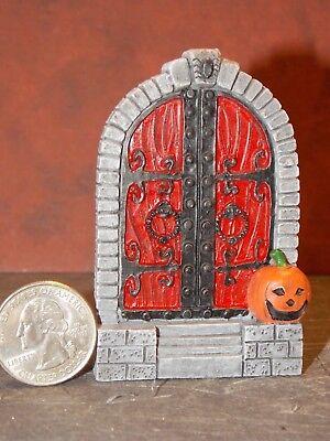 Dollhouse Miniature Halloween Door Scene Pumpkin 1:48 scale D11 Dollys Gallery - Halloween 1 Scenes