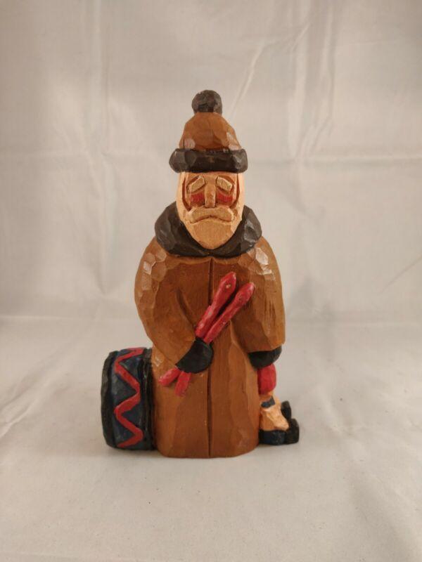 Lancy Smith Hand Carved Santa Claus Signed Folk Art Christmas Figurine Doll Drum