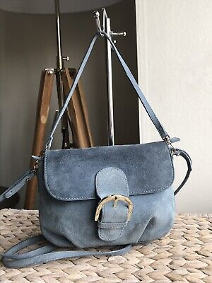 ZARA Woman genuine suede powder blue small handbag tote shoulder cross body bag Suede Cross Shoulder Tote