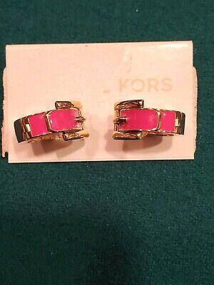 NWT MICHAEL KORS Gold-Tone BUCKLE  earrings w/ PINK enamel MKJ2526