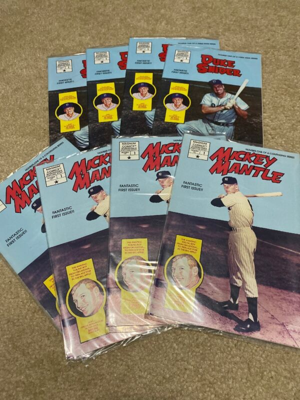 Lot Of 8 Mickey Mantle and Duke Snider Comic Book Issue #1 Sealed With Postcards