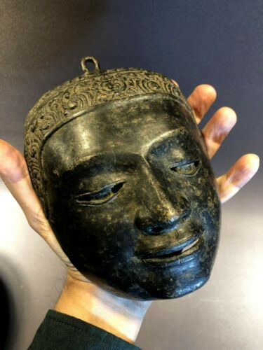 Antique 6th Century AD Eastern Monk or Buddha Metal Mask Unusual Shape Magical