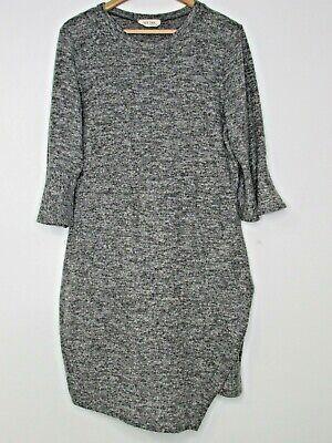 Peach Love California Soft Gray Faux Wrap Bell Sleeve Dress Pullover Size L/XL