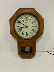 vintage Elgin regulator pendulum clock wall wood oak french country decor room