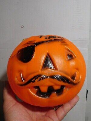 VTG Mustache Pirate Eye Patch Pumpkin Blow Mold Trick/Treat Candy Pail/Bucket