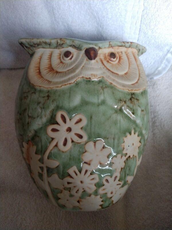 Green Owl Vase