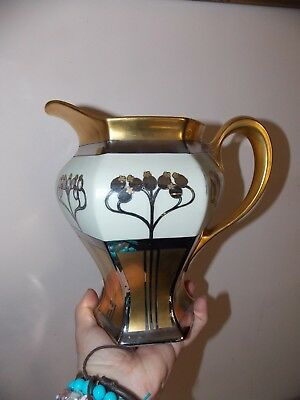 Vintage W A Pickard Hand Painted Aura Argenta Linear Limoges Large pitcher