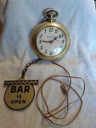 Vtg 1960's Spartus Backwards Running Bar Open/Closed Pocket Watch Wall Clock