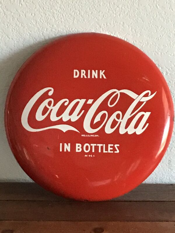 Vintage Coca Cola Metal Button Sign 12""