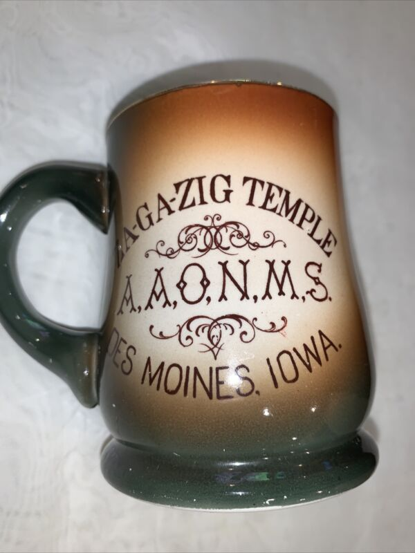 "1904 Masonic ZA GA ZIG Temple Des Moines Iowa Mug  4.5"" H"