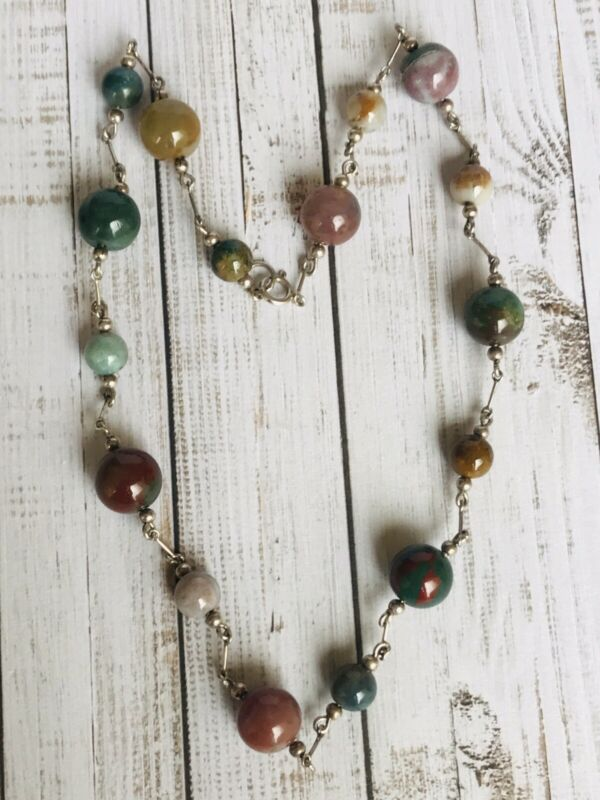 Fine Early Art Deco Period Sterling Silver Bloodstone Necklace 22cm Length