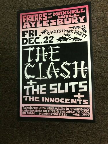 "The Clash, Slits, Innocents 1978 England Cardstock Concert Poster 12""x18"""
