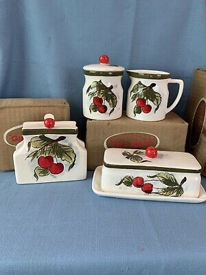 Vtg 50s kitchen cherries napkin holder butter creamer sugar New Old Stock Japan