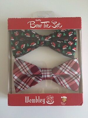 Bow Tie Set Christmas Wembley Spiffy Mens 2pc Red Plaids & Navy Holiday Xmas Holiday Plaid Bow Tie