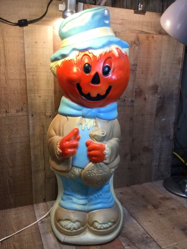 "Vintage Halloween Empire Blow Mold 34"" Pumpkin Head Scarecrow Working"