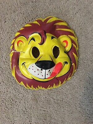 VINTAGE COLLEGEVILLE FRIENDLY LION HALLOWEEN COSTUME & MASK WITH ROUGH BOX