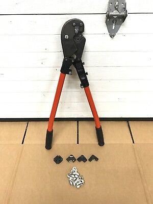 Thomas Betts Tbm-8 Ratchet Crimper Lug Compression Crimping Tool 4 Dies