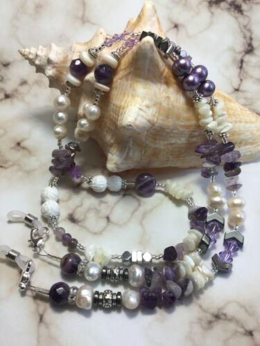 Handmade Amethyst Stone Pearl Eyeglass Holder/Lanyard W/Swarovski Elements USA