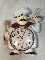 Vintage Sterling & Noble Chef Cook Kitchen Wall Clock - 11 x 9 - Plastic -