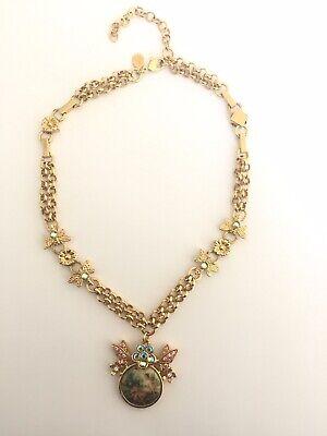 KIRKS FOLLY Angel Cherub Scene Necklace Gold Tone Fairies Butterflies Fairy Rare