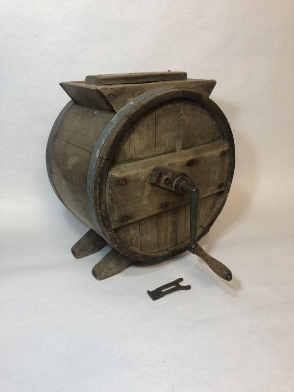 Antique Primitive Wood Barrel Butter Churn