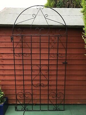Wrought Iron Tall Metal Side Gate Garden Gate - Black