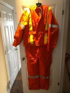 HI visibility insulated coveralls and insulated bomber jacket