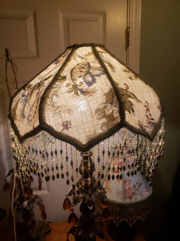Victorian French Lotus Lg Lamp Shade Jacobean Bead fringe Beautiful!!