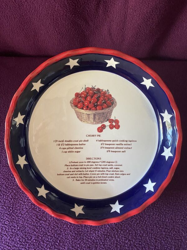 Ceramic American Red, White, and Blue Cherry Pie Dish