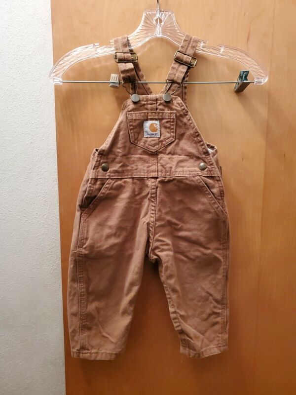 Carhartt Overalls Kids Size 24 Month Tan Classic Toddler Infant Bibs