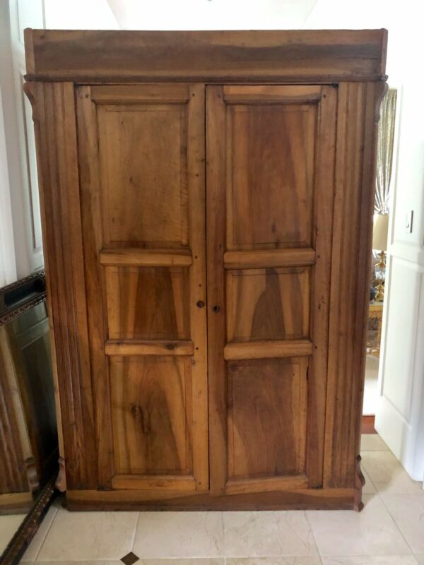 Large Antique Armoire 85x56x21, Two Interior Rods, Four Drawers. Classic, Solid
