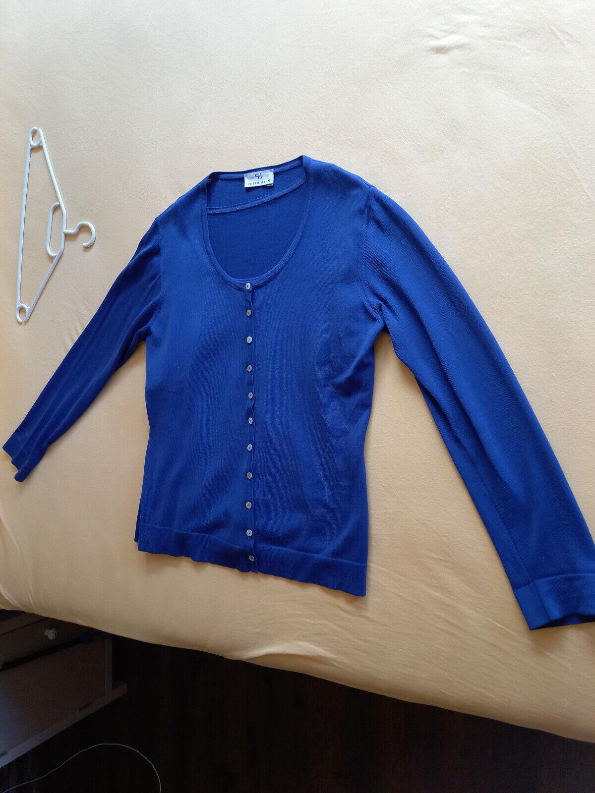 Peter Hahn Twin Set Gr. 40 blau Strickjacke und kurzärmeliger Strickpulli