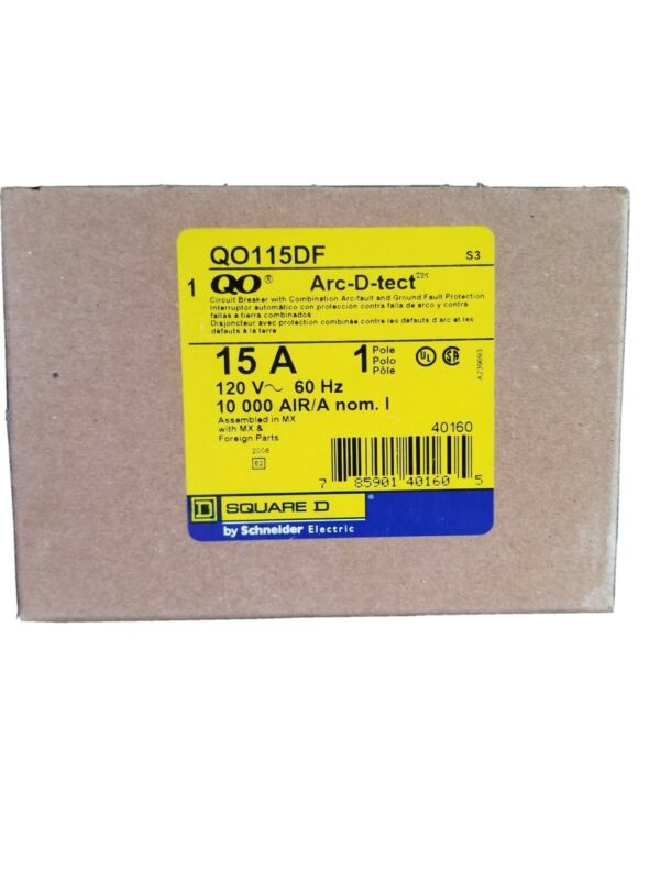 QO115DF Square D 1 Pole 15A 120VAC Combo ARC Fault GFI Breaker  BRAND NEW