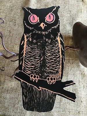 Repro 1920's Vintage Black Brown Owl Branch Halloween Cardstock Decoration, 10
