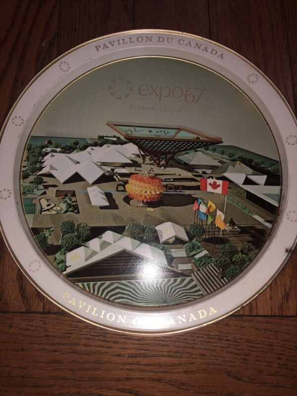 """Vintage Canadian Serving Tray 11"""" Pavilion of Canada Expo67 Montreal"""