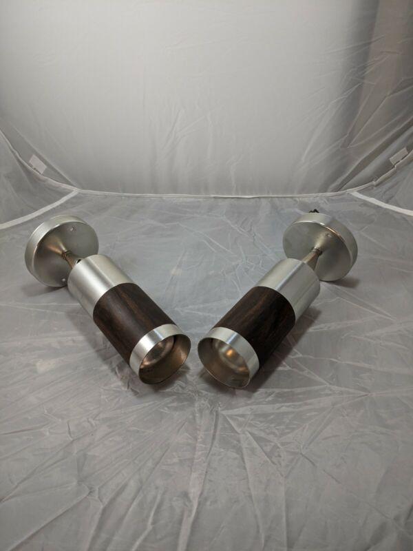 Pair Vintage Underwriters Laboratories Cylinder Wall/Ceiling Sconce Light Metal