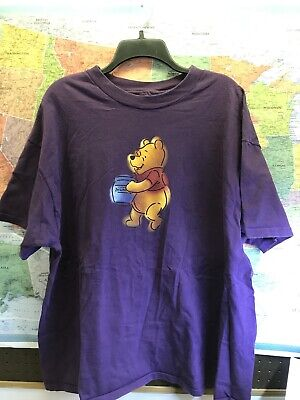 Vintage Disney Store Winnie The Pooh T Shirt XL Purple Single Stitch USA 90's