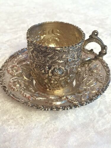 Antique Sterling Silver ROSE Demitasse Cup Saucer Baltimore Silver Co 1892-1900