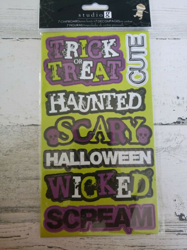 Studio G 7 Chipboard Punchouts Halloween sayings