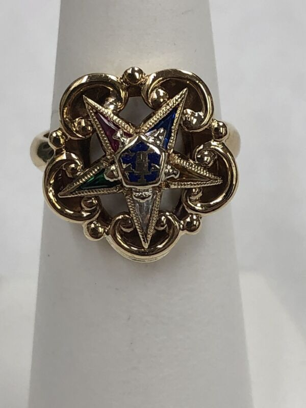 10k Yellow Gold Order of the Eastern Star Ring Size 4.75