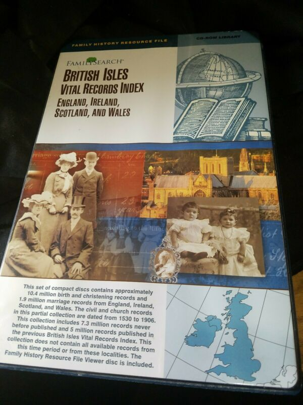 Familysearch British Isles Vital Records Index cd-rom library England, Ireland +