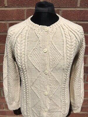 Vintage Women's Cardigan Jumper Size XS Aran Style Patterned Ivory Knit