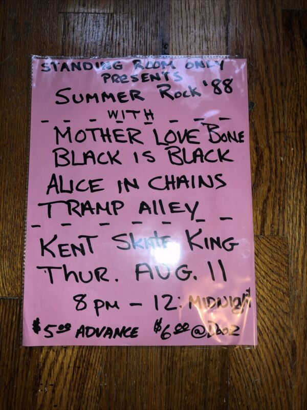 Rare Holy Grail Alice In Chains Mother Love Bone Debut Show Flyer AIC Nirvana