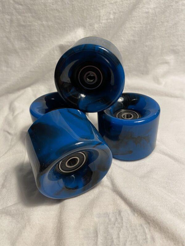 Blue Swirl Wheels Built In ABEC 7 Bearings For Skateboard Cruiser  4 Piece Set