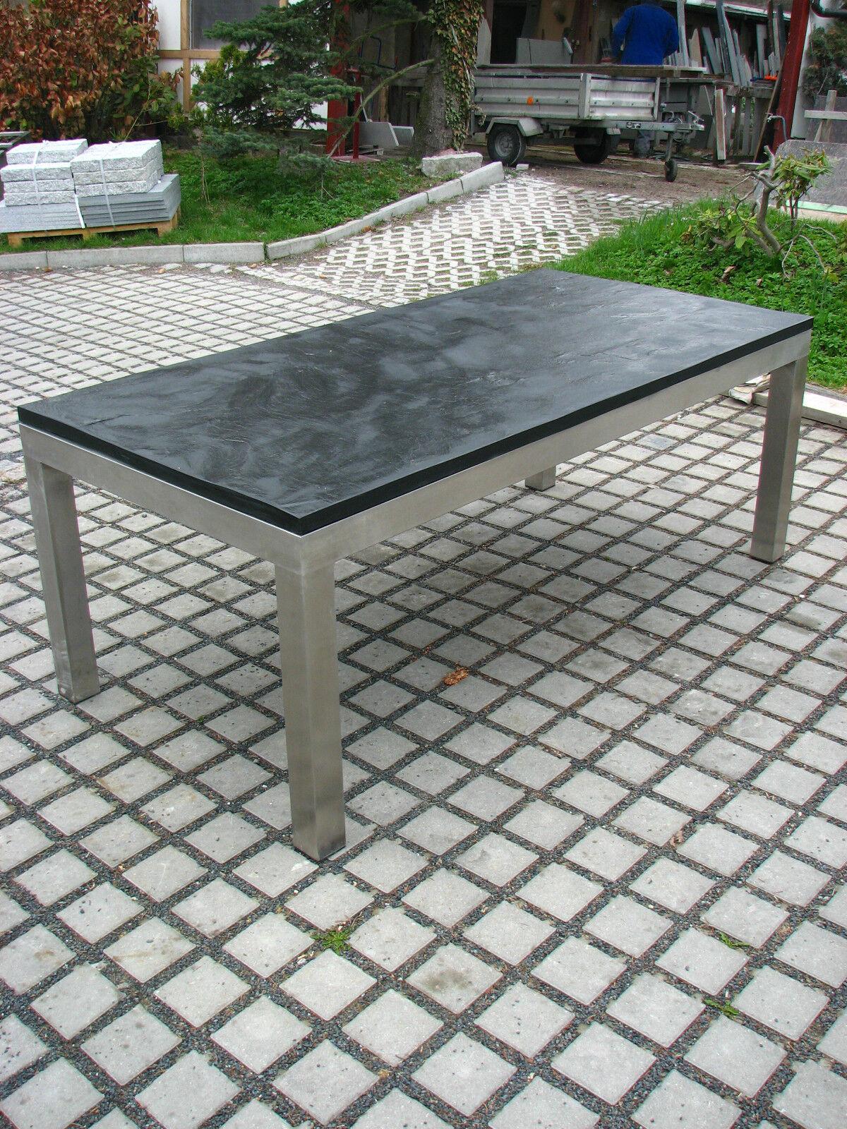 Gartentisch Outdoor-Tisch Esstisch mit Schieferplatte schwarz 180x90 +Edelstahl
