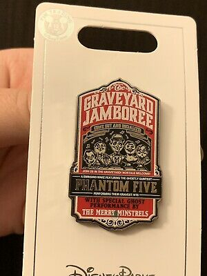 Disneys Haunted Mansion 50th Anniv Singing Phantom Ghosts Graveyard Jamboree Pin